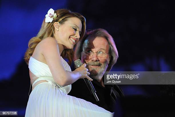 Kylie Minogue and Benny Andersson of Abba perform during 'Thank You For The Music - A Celebration Of The Music Of Abba' at Hyde Park on September 13,...