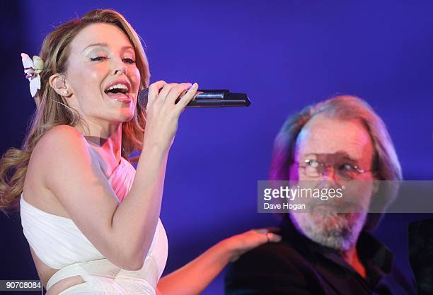 Kylie Minogue and Benny Andersson perform at Thank You For The Music, a celebration of the music of Abba held at Hyde Park on September 13, 2009 in...
