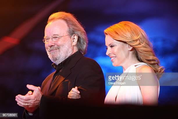 Kylie Minogue and Benny Andersson perform at Thank You For The Music a celebration of the music of Abba held at Hyde Park on September 13 2009 in...