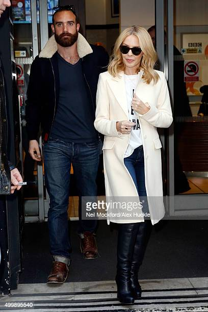 Kylie Minogue and boyfriend Joshua Sasse seen leaving the BBC Radio 2 Studios on December 4 2015 in London England