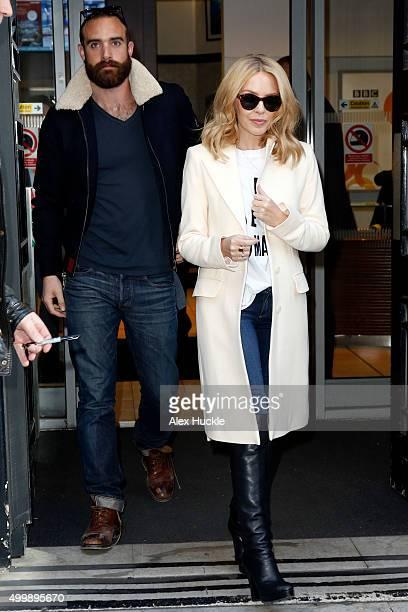 Kylie Minogue and boyfriend Joshua Sasse seen leaving the BBC Radio 2 Studios on December 4 2015 in London England
