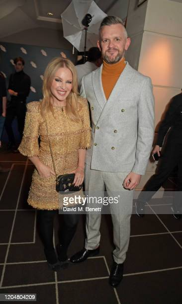Kylie Minogue and CEO of the BFI Ben Roberts attend the BFI Chairman's dinner awarding Tilda Swinton with a BFI Fellowship at Rosewood London on...