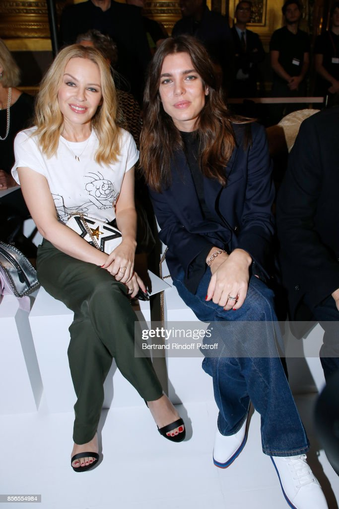 Kylie Minogue and Charlotte Casiraghi attend the Stella McCartney show as part of the Paris Fashion Week Womenswear Spring/Summer 2018 on October 2, 2017 in Paris, France.