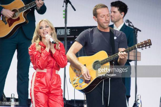 Kylie Minogue and Chris Martin perform on the Pyramid Stage on day five of Glastonbury Festival at Worthy Farm Pilton on June 30 2019 in Glastonbury...