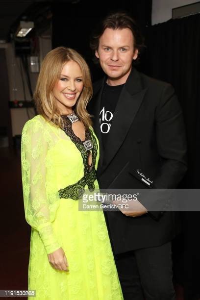 Kylie Minogue and Christopher Kane backstage stage during The Fashion Awards 2019 held at Royal Albert Hall on December 02, 2019 in London, England.