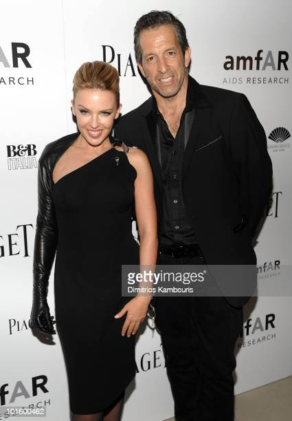 Kylie Minogue and designer Kenneth Cole attend amFAR Inspiration Gala at the New York Public Libaray on June 3 2010 in New York City