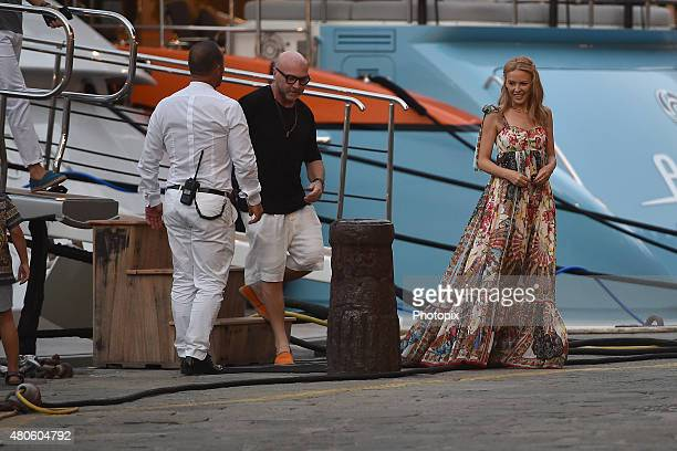 Kylie Minogue and Domenico Dolce are seen on July 13 2015 in Portofino