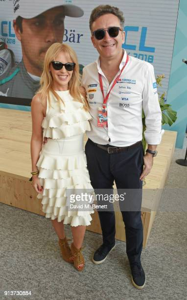 Kylie Minogue and FIA Formula E CEO Alejandro Agag attend the ABB FIA Formula E Antofagasta Minerals Santiago EPrix on February 3 2018 in Santiago...