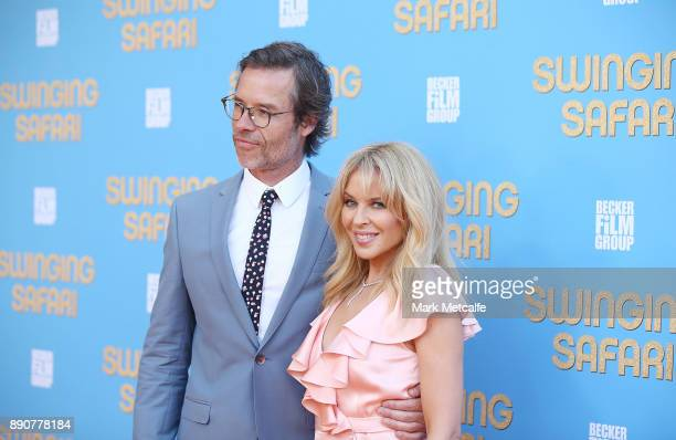 Kylie Minogue and Guy Pearce attend the world premiere of Swinging Safari on December 12 2017 in Sydney Australia