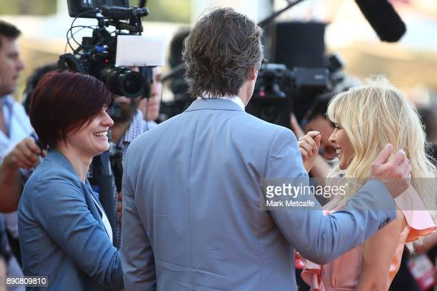 Kylie Minogue and Guy Pearce talk to media during the world premiere of Swinging Safari on December 12 2017 in Sydney Australia