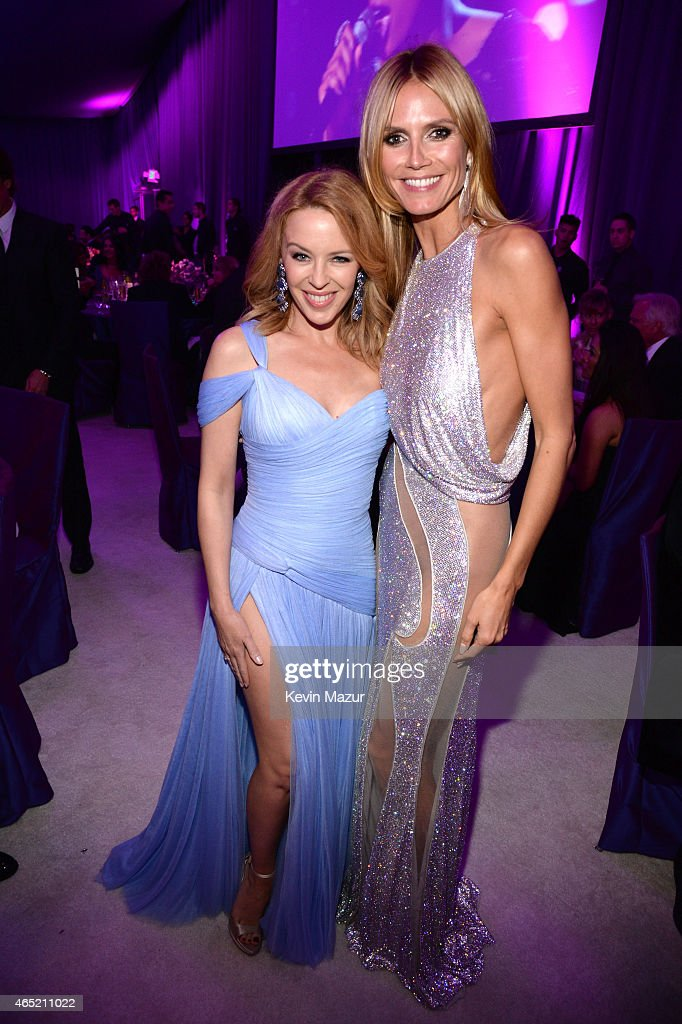 Kylie Minogue and Heidi Klum attend the 23rd Annual Elton John AIDS Foundation Academy Awards Viewing Party on February 22, 2015 in Los Angeles, California.