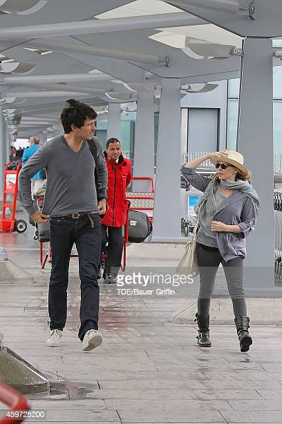 Kylie Minogue and her boyfriend Andres Velencoso is seen at Heathrow Airport on June 08 2012 in London United Kingdom