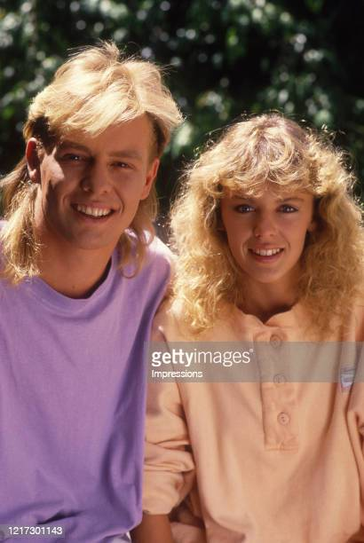 Kylie Minogue and Jason Donovan pictured together on the set of neighbours when they played the Aussie soap's resident sweethearts.Melbourne.January...