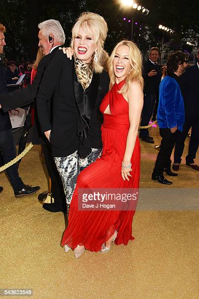 Kylie Minogue and Joanna Lumley attend the World Premiere of Absolutely Fabulous The Movie at Odeon Leicester Square on June 29 2016 in London England