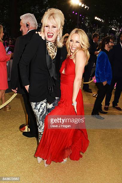 Kylie Minogue and Joanna Lumley attend the World Premiere of 'Absolutely Fabulous The Movie' at Odeon Leicester Square on June 29 2016 in London...