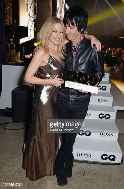 Kylie Minogue and Johnny Marr winner of the Lifetime Achievement Award attend the GQ Men of the Year Awards 2018 in association with HUGO BOSS at...