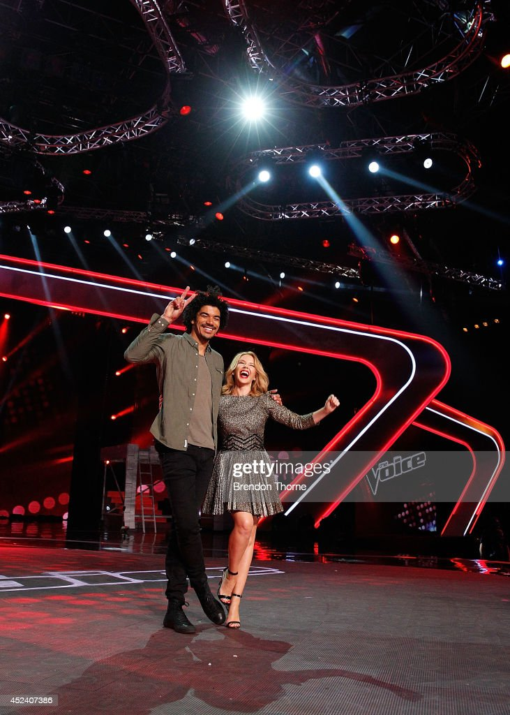 Kylie Minogue and Johnny Rollins pose during a media call with the final five contestants and their coaches from The Voice at Fox Studios on July 20, 2014 in Sydney, Australia.