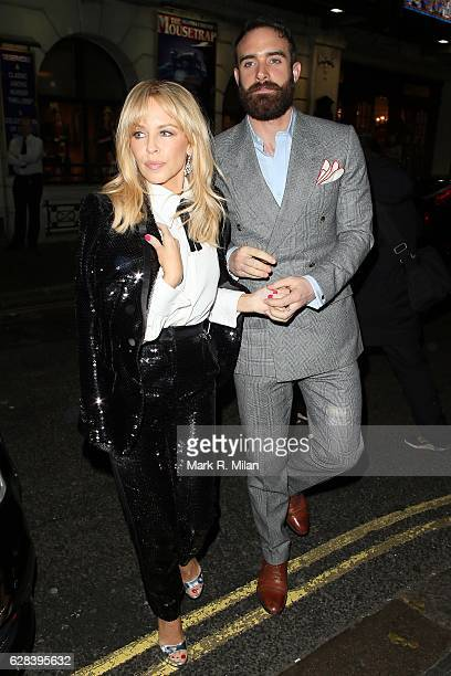 Kylie Minogue and Joshua Sasse at the Ivy restaurant for her intimate performnce on December 7 2016 in London England