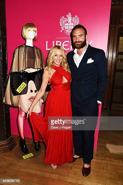 """Kylie Minogue and Joshua Sasse attend the after party of the world premiere of """"Absolutely Fabulous: The Movie"""" at Liberty on June 29, 2016 in..."""