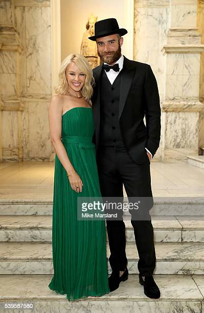 Kylie Minogue and Joshua Sasse attend the One For The Boys Fashion Ball at The VA on June 12 2016 in London England