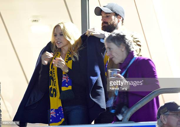 Kylie Minogue and Joshua Sasse attend the Rugby World Cup Final match between New Zealand and Australia during the Rugby World Cup 2015 at Twickenham...