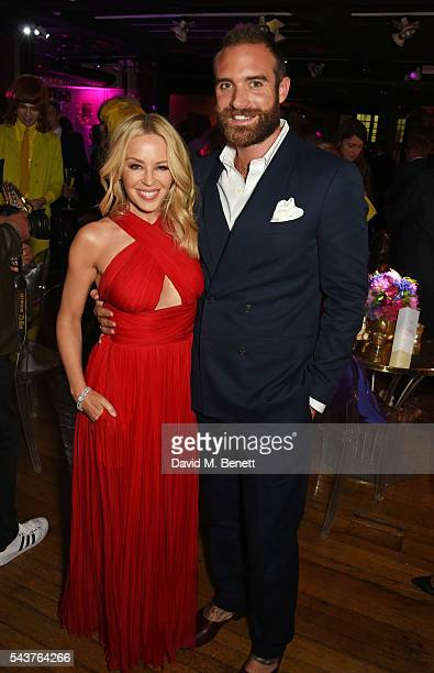 Kylie Minogue and Joshua Sasse attend the World Premiere after party of 'Absolutely Fabulous The Movie' at Liberty on June 29 2016 in London England