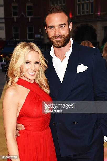 Kylie Minogue and Joshua Sasse attend the World Premiere of 'Absolutely Fabulous The Movie' at Odeon Leicester Square on June 29 2016 in London...