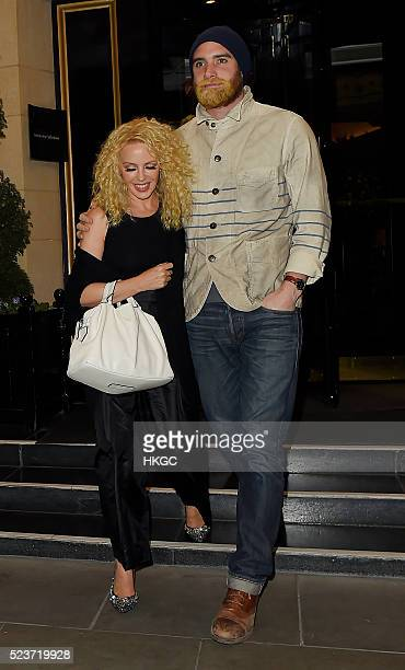 Kylie Minogue and Joshua Sasse leave The Dorchester Hotel before heading to The Wolseley restaurant in Mayfair on April 23 2023 in London England