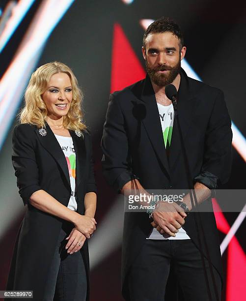 Kylie Minogue and Joshua Sasse present during the 30th Annual ARIA Awards 2016 at The Star on November 23 2016 in Sydney Australia