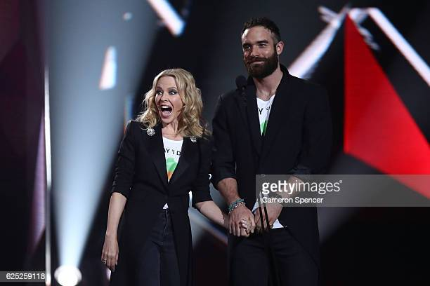Kylie Minogue and Joshua Sasse present on stage during the 30th Annual ARIA Awards 2016 at The Star on November 23 2016 in Sydney Australia