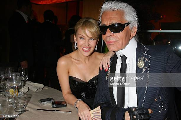 Kylie Minogue and Karl Lagerfeld attend a dinner sponsored by magazine Madame Figaro to celebrate the Sixtieth Anniversary of the IFF on May 23 2007...