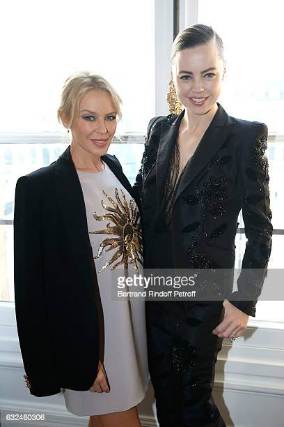 Kylie Minogue and Melissa George attend the Schiaparelli Haute Couture Spring Summer 2017 show as part of Paris Fashion Week on January 23 2017 in...