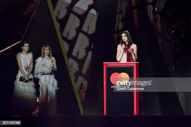 Kylie Minogue and Millie Bobby Brown present the British Female award to winner Dua Lipa at The BRIT Awards 2018 held at The O2 Arena on February 21...