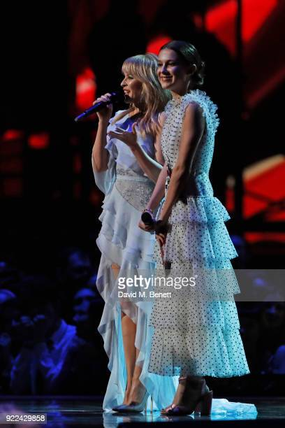 AWARDS 2018 *** Kylie Minogue and Millie Bobby Brown speak onstage at The BRIT Awards 2018 held at The O2 Arena on February 21 2018 in London England