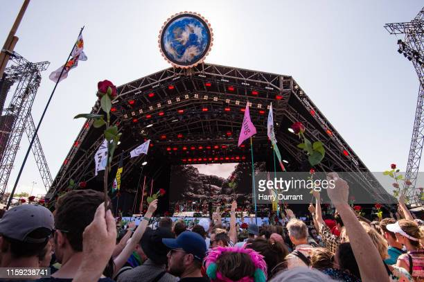 Kylie Minogue and Nick Cave perform on The Pyramid Stage during day five of Glastonbury Festival at Worthy Farm, Pilton on June 30, 2019 in...