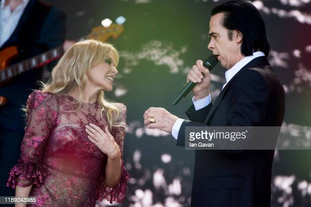 Kylie Minogue and Nick Cave perform on the Pyramid stage on day five of Glastonbury Festival at Worthy Farm Pilton on June 30 2019 in Glastonbury...
