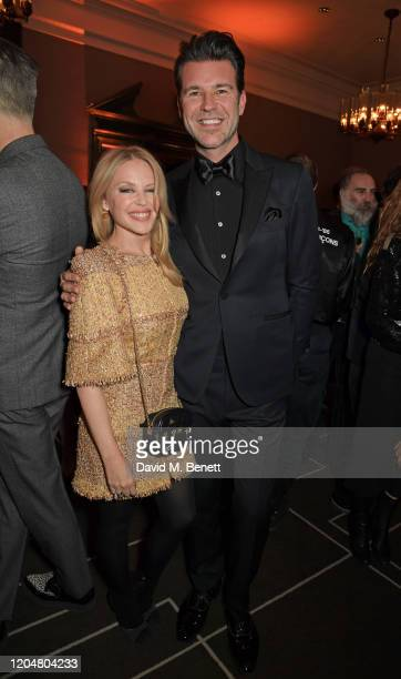 Kylie Minogue and Paul Solomons attend the BFI Chairman's dinner awarding Tilda Swinton with a BFI Fellowship at Rosewood London on March 2 2020 in...