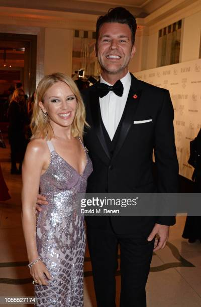Kylie Minogue and Paul Solomons attend the Harper's Bazaar Women Of The Year Awards 2018 in partnership with Michael Kors and MercedesBenz at...