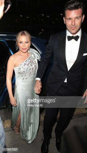 Kylie Minogue and Paul Solomons seen attending GQ Men of the Year Awards at Tate Modern on September 03 2019 in London England
