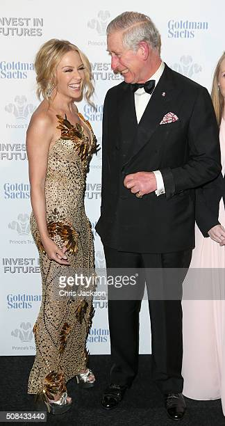 Kylie Minogue and Prince Charles Prince of Wales attend a predinner reception for the Prince's Trust Invest in Futures Gala Dinner at The Old...