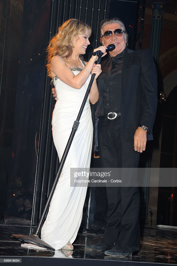 Kylie Minogue and Roberto Cavalli attend the Roberto Cavalli Celebrate 40 Party at 'Les Beaux-Arts' in Paris.
