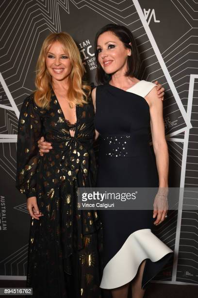 Kylie Minogue and Tina Arena attend the VIP Launch of the Australian Music Vault at the Arts Centre Melbourne on December 18 2017 in Melbourne...