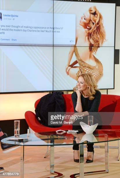 Kylie Minogue answers questions from fans across the globe live on Facebook at Facebook London on March 11 2014 in London England
