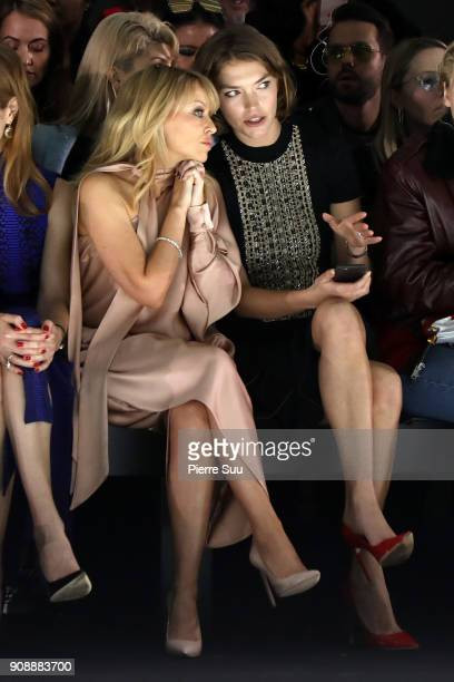 Kylie Minogue Arizona Muse attend the Ralph Russo Haute Couture Spring Summer 2018 show as part of Paris Fashion Week on January 22 2018 in Paris...