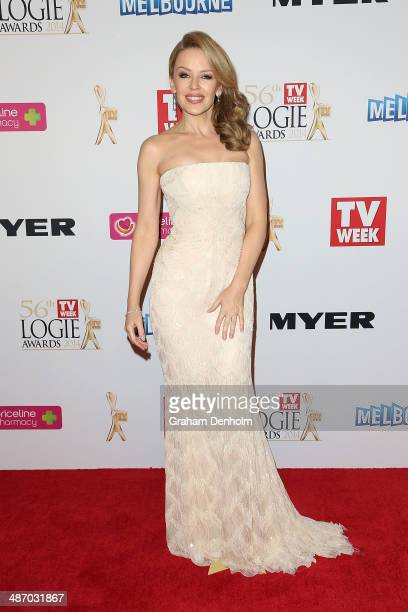 Kylie Minogue arrives at the 2014 Logie Awards at Crown Palladium on April 27 2014 in Melbourne Australia