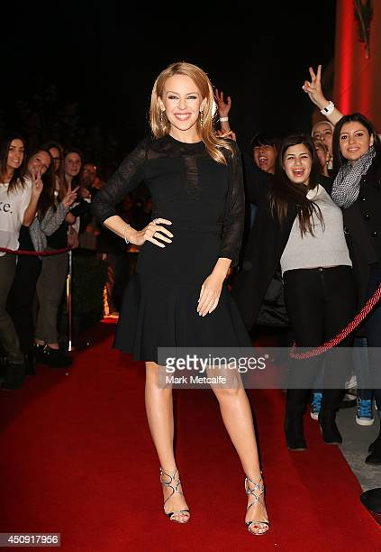 Kylie Minogue arrives at The Voice Australia Coldplay cocktail event at Fox Studios on June 20 2014 in Sydney Australia