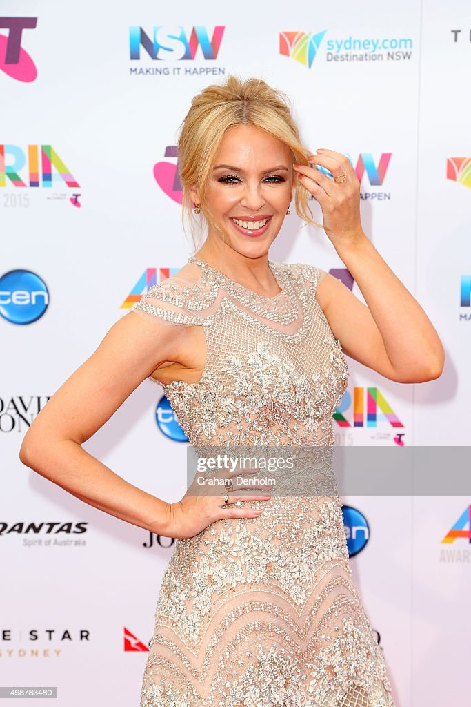 Kylie Minogue arrives for the 29th Annual ARIA Awards 2015 at The Star on November 26, 2015 in Sydney, Australia.