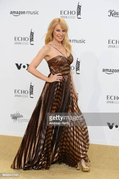 Kylie Minogue arrives for the Echo Award at Messe Berlin on April 12 2018 in Berlin Germany