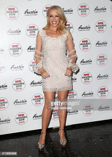 Kylie Minogue arrives for the NME awards at O2 Academy Brixton on February 17 2016 in London England