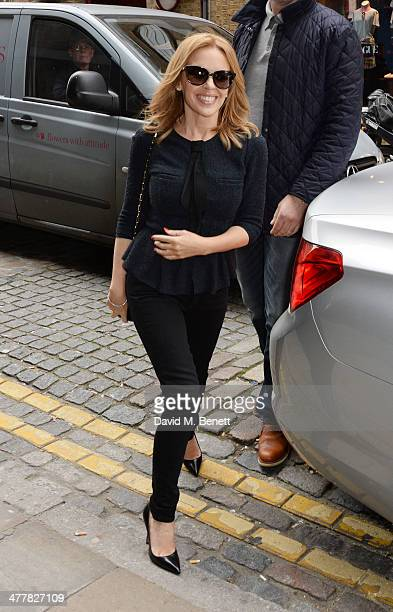 Kylie Minogue arrives to take part in a live event for fans broadcast on Facebook at Facebook London on March 11 2014 in London England